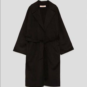 Zara black wool belted coat